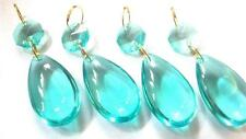 4 Chandelier Crystal Antique Green Aqua Smooth Teardrop Almond Ornament Prism