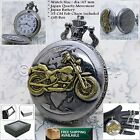 Silver Antique Men Pocket Watch Motor Bike design with Fob Chain Gift Box P25