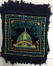 Small Compact Personal Travel Prayer Mat Square Handbag Gift Blue Muslim Carpet