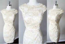 Sheath Embroidered Beaded Lace Formal Bridal Wedding Cocktail Party Mini Dress S