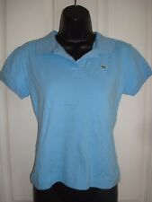 Women's EUR 38 (US6 Small) LACOSTE Light Blue Polo Shirt Alligator Logo