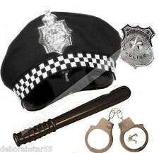 Policeman Fancy Dress Police Officer Costume Policeman HAT BADGE BATON CUFFS