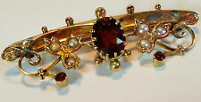 SUPERB ANTIQUE EDWARDIAN 9ct GOLD, GARNET & SPLIT PEARL TIE PIN BAR BROOCH