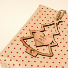 Personalised Rustic Wooden Christmas Tree Gift Tags. Vintage Sapele Decorations.