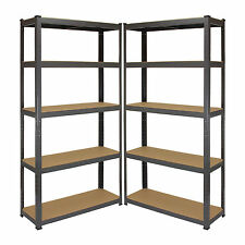 2 x Garage scaffalature a incastro TRAVASO 5 Unità di memorizzazione in acciaio scaffale scaffali in metallo