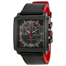 AT2215-07E Citizen Eco-Drive MFD3.0 Chronograph Black & Red Leather Men's Watch