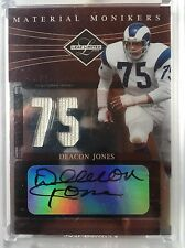 2006 Leaf Limited Deacon Jones Material Monikers Jersey Auto 42/75