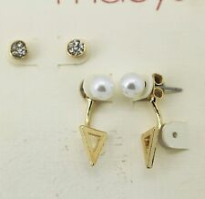 Macy's Gold Tone Faux Pearl and Front back Earring Set