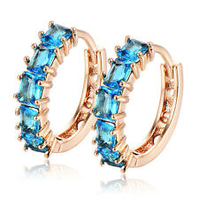 womens gold filled hoop earrings blue crystal earings 28mm wholesale