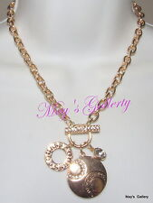 GUESS Jeans Rhinestone Necklace Necklaces Pendant Charms Long Logo Gold NWT