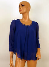 Blue Chiffon Long Sleeve Shirt Casual Top Blouse Size Small