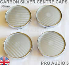 4x 60mm Carbon Fibre Silver Wheel Centre Caps Universal CENTER  Van -  UK