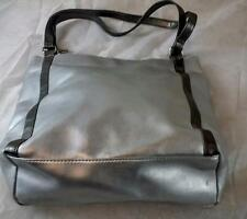Silver Matrix Purse Handbag Tote with dark silver handles and accent stripes