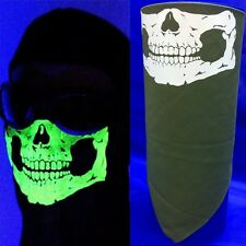USA MADE ADJUSTABLE GLOW N THE DARK SKULL FACE BANDANA MASK COSPLAY  OLIVE GREEN