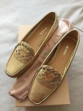 Prada Gold Loafers Moccasin Leather Studded Flats Shoes BNIB UK 6 EU 39 RRP £379