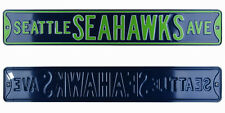 Seattle Seahawks Ave Licensed Authentic Steel 36x6 Navy & Green NFL Street Sign