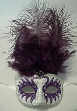 Purple Silver Pearl Venetian Feather Masquerade Dance Carnival Mask
