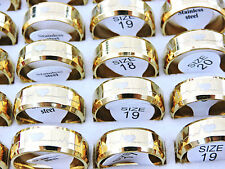 10Pcs Fashion Gold Stainless Steel Rings Wholesale Bulk Lots Men's Jewelry