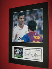 CRISTIANO RONALDO & LIONEL MESSI  A4 PHOTO MOUNT SIGNED PRE-PRINTED BARCELONA