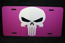 PUNISHER SKULL LICENSE PLATE TAG FOR CARS SUVS PINK LADY PUNISHER
