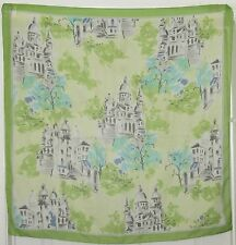 """TERRIART Lime, Aqua, Gray Old Buildings Sheer 33"""" Square Scarf-Vintage"""