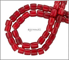 """16"""" Red Bamboo Coral Drum Beads ap.7mm #63045"""