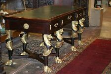 ANTIQUE FRENCH EMPIRE GILDED BRONZE LION HEADS CLAW FEET TABLE DESK LEATHER RARE