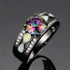 Round Mystic Rainbow Topaz Ring Opal Black Gold Filled Wedding Band Size 5-10