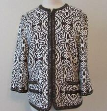 St. John Collection 8 brown white patterned full zip leather trim jacket MINT