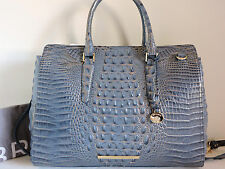 Brahmin Finley Carryall Satellite Croc Embossed Leather Business Satchel Bag NWT