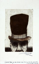 CHARLES ROTH Signed w/Inscription to HAROLD OLMSTED 1971 Etching MAN IN TOP HAT