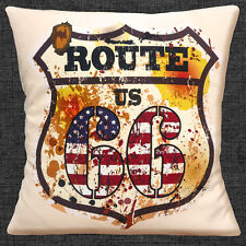 "VINTAGE RETRO ROUTE 66 US SHIELD OLD MOTTLED FINISH 16"" Pillow Cushion Cover"