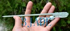 Natural Jade Hair Stick Dangle Hair Pin Hand Carved Hairpin w/ certificate