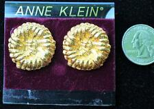 New Original Card Old Stock ANNE KLEIN Goldtone Round Textured Pierced Earrings