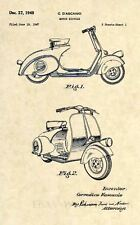 Official Vespa 125 US Patent Art Print-Vintage Antique 1949 Scooter Original 310