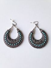 Silver And Turquoise Tribal Fish Hook Style