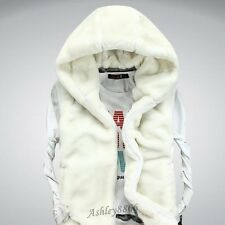 New Soft Faux Fur Men Boy Waistcoat Jacket Hooded Winter Warm Coat Vest Sleeves
