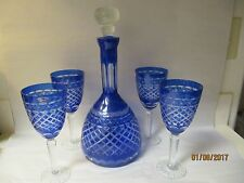 Vintage Sorelle Cobalt Cut to Clear Wine Decanter w/ 4 Glasses