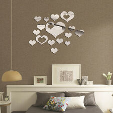 NEW 1X 3D Heart Mirror Wall Stickers Decal Home DIY Decor Room Decoration GT