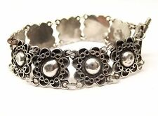 Vtg Sterling Silver Ornate Flower Bracelet Wire Filigree Floral Jerusalem Israel
