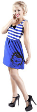 "77587 Blue & White Striped ""Dead Sailor"" Sugar Skull Sourpuss Dress Medium M"