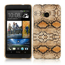 BROWN SNAKE SKIN-INSPIRED PROTECTIVE LEATHER BACK CASE COVER FOR HTC ONE