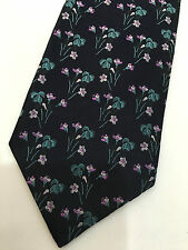 "Paul Smith NAVY BLUE FLORAL TIE ""MAINLINE"" 100% Silk Floral 9cm Made in Italy"