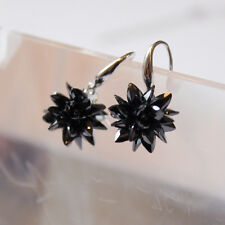 925 Sterling Silver Drop Earrings Black Frosty Flower Bridal Earrings