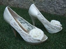 IVORY LACE & ROSE PEEP TOE BRIDAL WEDDING STILETTO HEELS SHOES ~ UK 6 IN VGC