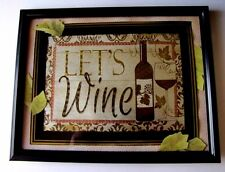 Let's Wine Framed Wall Art  Print Picture Home Bar Office Decor