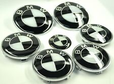 COMPLETE BLACK WHITE BADGE SET WHEEL CENTRE CAPS SET FOR BMW 1 3 5 Z3 Z4 SERIES
