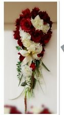 5pc Package:APPLE RED Ivory Cascade Bridal wedding bouquet boutonniere