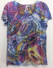 Susan Lawrence Women's S Short Sleeve Blouse Top Lightweight Stretch Rhinestone