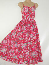 LAURA ASHLEY VINTAGE GERANIUM RED PANSY ROSE SUMMER SUNDRESS,8/10 (Label 12)